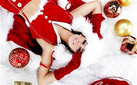 Preview wallpaper Christmas girl, decoration, balls