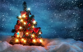Preview wallpaper Christmas tree, lights, balls, snow