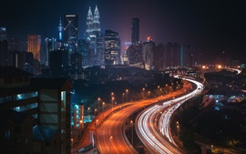 Preview wallpaper City night, roads, skyscrapers, lights, Malaysia, Kuala Lumpur