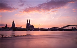 Cologne, Germany, morning, buildings, bridge, river, red sky