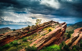 Preview wallpaper Colorado, USA, red rocks, tree, clouds, dusk