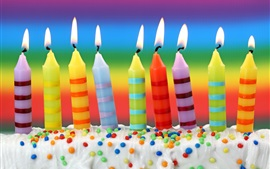 Preview wallpaper Colorful candles, flame, cream, Birthday cake