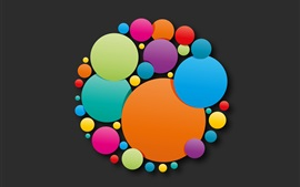 Preview wallpaper Colorful circles, abstract, black background