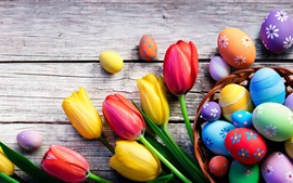 Preview wallpaper Colorful eggs and tulip flowers, Happy Easter