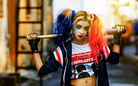 Preview wallpaper Cosplay girl, Harley Quinn, colorful hair