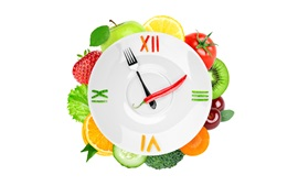 Preview wallpaper Creative clock, vegetables and fruits