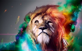 Preview wallpaper Creative design, lion face, colors