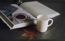 Preview wallpaper Cup, book, maple leaf, still life