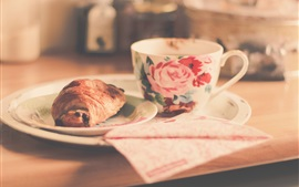 Preview wallpaper Cup, croissant, food