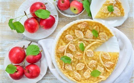 Delicious apple pie, red apples