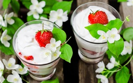Delicious yogurt, dessert, strawberry, jasmine