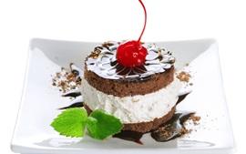 미리보기 배경 화면 디저트, 케이크, 초콜릿, 체리