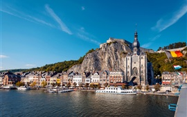 Preview wallpaper Dinant, Belgium, church, houses, rocks, ships, river
