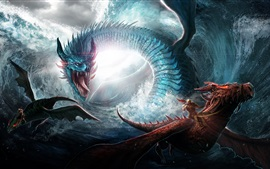 Preview wallpaper Dragon, sea, waves, art picture