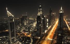 Дубай, городская ночь, небоскребы, огни, дорога