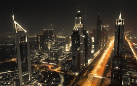 Dubai, city night, skyscrapers, lights, road