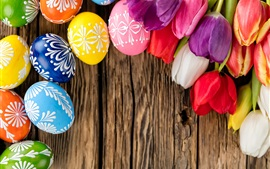 壁紙のプレビュー 卵とチューリップ、イースターテーマ