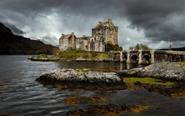 Preview wallpaper Eilean Donan castle, Scotland, river, stones, clouds