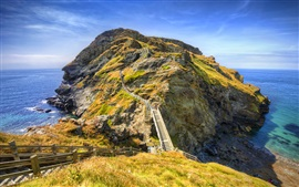 England, Cornwall, Tintagel, sea, mountains, bridge