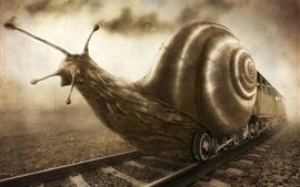 Arte de fantasia, trem de caracol, criativo