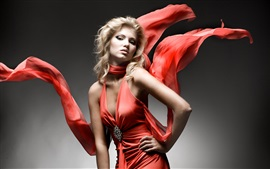 Fashion girl, red dress, art photography