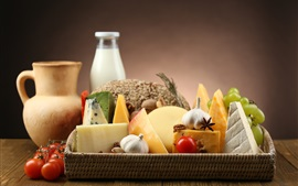 Preview wallpaper Food, cheese, tomatoes, fruits