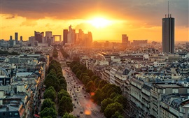 Preview wallpaper France, Paris, road, city, houses, buildings, sunrise
