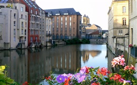 France, city, houses, river, flowers