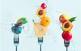 Preview wallpaper Fresh fruit, water, cherry, pear, peach, plum, fork