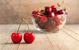 Preview wallpaper Fresh red cherries, wood board, bowl
