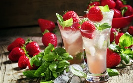 Preview wallpaper Fresh strawberry, glass cups, mint, iced drinks