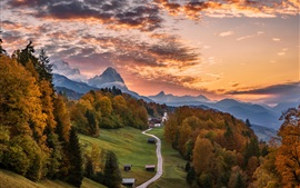 Germany, Bayern, road, trees, mountains, houses, autumn