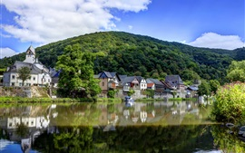Germany, river, village, mountains, greens