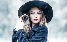 Preview wallpaper Girl and cat in the winter