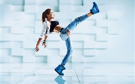 Preview wallpaper Girl dance, pose, legs, jeans