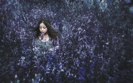 Preview wallpaper Girl hidden in the flowers field