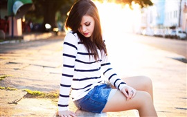 Preview wallpaper Girl sit at street, backlight