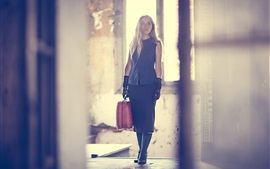 Preview wallpaper Girl, suitcase, room, light rays