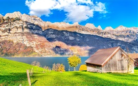 Preview wallpaper Grass, wood house, lake, mountains, beautiful nature