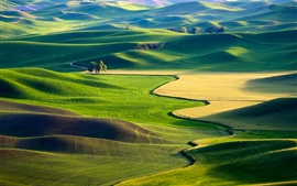 Preview wallpaper Green fields, nature, beautiful, USA