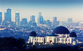 Preview wallpaper Griffith Observatory, skyscrapers, night, lights, Los Angeles, USA