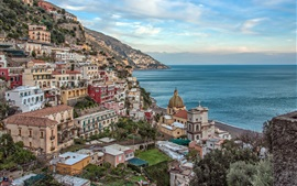 Preview wallpaper Italy, Campania, Positano, Amalfi Coast, bay, city, mountain, sea