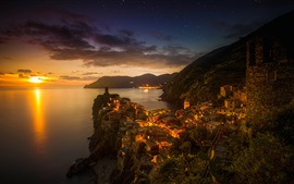 Preview wallpaper Italy, Vernazza, city, sea, mountains, houses, sunset, dusk