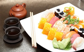 Preview wallpaper Japanese cuisine, rolls, sushi, food