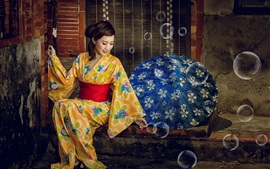 Japanese girl, kimono, bubbles, umbrella