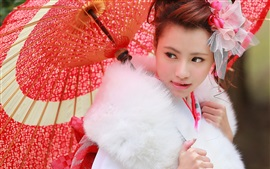 Preview wallpaper Japanese girl, red umbrella, fur clothing