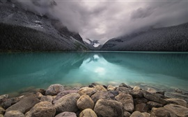 Lake Louise, Banff National Park, Canada, stones, mountains, clouds