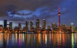 Lake Ontario, Toronto, Canada, city night, skyscrapers, lights