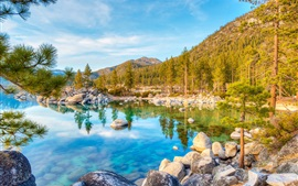 Preview wallpaper Lake Tahoe, water reflection, mountains, trees, stones, USA