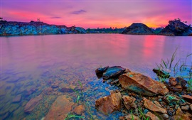 Preview wallpaper Lake, mountains, glow, red sky, clouds, sunset